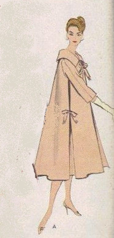 Vogue Sewing Pattern 50s Swing Coat Full Flare Side Pleated