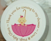 Baby Shower Favors - Personalized Whipped Body Butter - Pink Umbrella