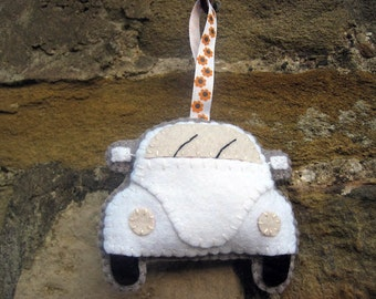 VW Beetle Plush White Hanging Ornament, Gift for Beetle Lovers