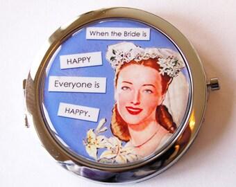 Happy bride, compact mirror, mirror, wedding shower gift, Wedding, Bride, bridal shower, Something Blue  (2015)