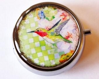 Hummingbird Pill Box, Pill Case, Pill Container, Gift for her, green, hummingbird (2055)