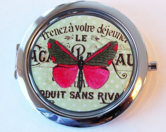 Butterfly compact mirror, mirror, pocket mirror, compact mirror, gift for her, green, butterfy, mirror for purse (2083)