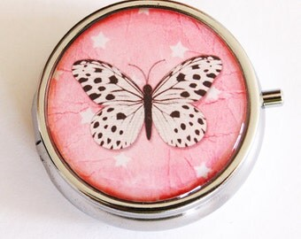Butterfly, Pill Box, Pill Case, Pill Container, Bird, Gift for her, mint case, pink, round pill case, Mothers Day gift (2162)