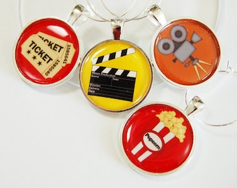 Movie Wine Charms, Movie Night, Wine Glass Charms, Wine Charms, silver plated, barware, entertaining, table setting, movies, popcorn (2519)