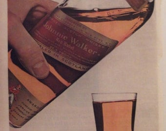 JOHNNIE WALKER RED Label Scotch Original 1966 Vintage Advertising Man Cave Bar Wall Decor Ready To Frame