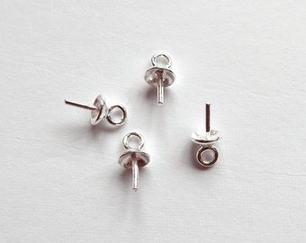 925 Sterling Silver SS 4 mm Bead cap with peg and link, for half drilled beads 4 Pieces  G5756 G6783