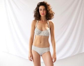 Retro Swimsuit, Plus Size Swimsuit, White Swimsuit - Underwire Bikini Top With High Waisted Bikini Bottom, Unique Swimwear, Summer Trends