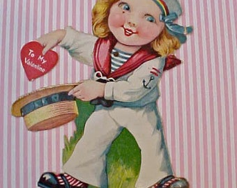 Adorable 1920's German Printed Valentine Card-Little Sailor Girl Pulls Valentine From Hat