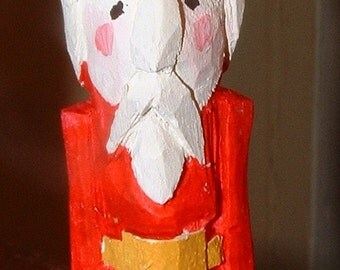 """Hand Carved 19th Century OLD WORLD 3"""" Father Christmas - Handpainted and Hand Carved from Wood - Signed Bill Hughen 2012"""