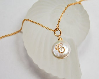 C Initial Necklace | Personalized Jewelry | Engraved Pearl Pendant
