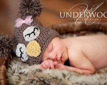 Sleepy Owl Hat for Newborn Baby Crochet Owl Hat Pom Pom Hat / Baby Owl Hat / Owl Hat / Square Owl Hat / Newborn Owl Hat / Baby Animal Hat