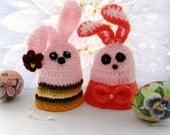Crochet Egg Cozy - Egg Warmer - Easter Bunny - Set of 2