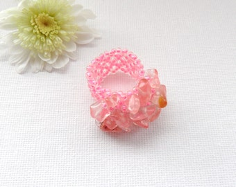 Pink Ring - Adjustable Ring - Rock Crystal Chips Ring -  Handmade Jewellery