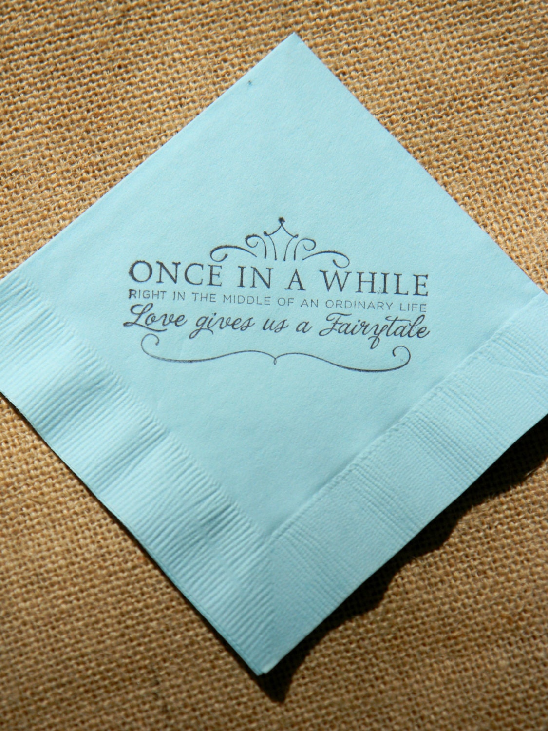 Fairytale Love Light Blue Paper Wedding Cocktail Napkins Once