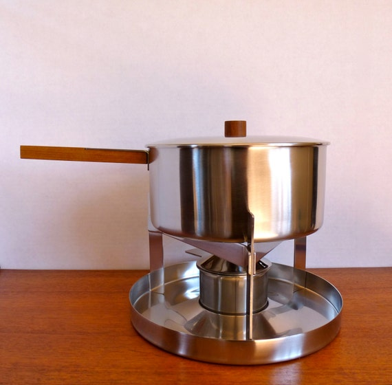 vintage mid century stelton stainless steel fondue pot set. Black Bedroom Furniture Sets. Home Design Ideas
