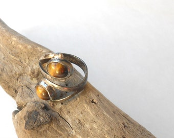 Vintage Modernist Sterling Ring, Mexican Silver & tigers eye ring, eagle mark Mexico