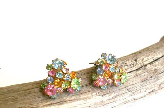 Vintage rhinestone earrings signed Austria crystal earrings, Pastel Jewel Tones