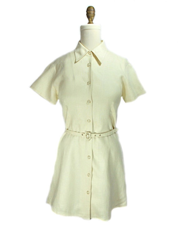 1990s I.N.C Belted Linen Shirt Dress - Cream Ivory Off White - Short Sleeve Dress - Conservative Preppy - Summer Dress - Minimalist - Size 8