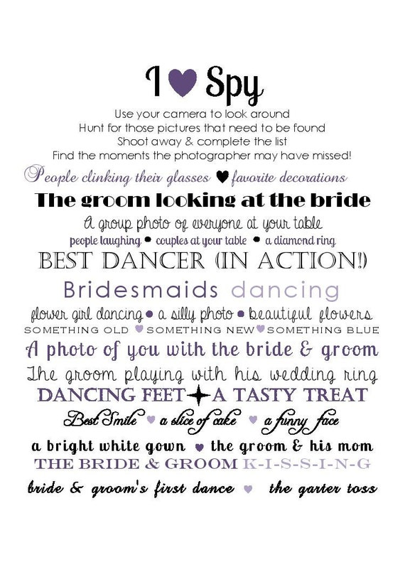 Instant Download Wedding I Spy Pictures DIY fun PDF Purple Table Guest Cards