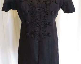 Vintage 80s black dress linen tunic size XS S  short sleeve  linen day  evening dress short  size XS S