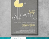 Baby Shower Invitation - Printable - DIY - Customizable - yellow and gray