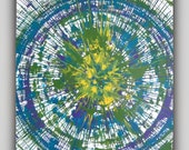 """Abstract Spin Art Painting Large Aqua Teal Purple Yellow Green 20"""" x 24"""""""