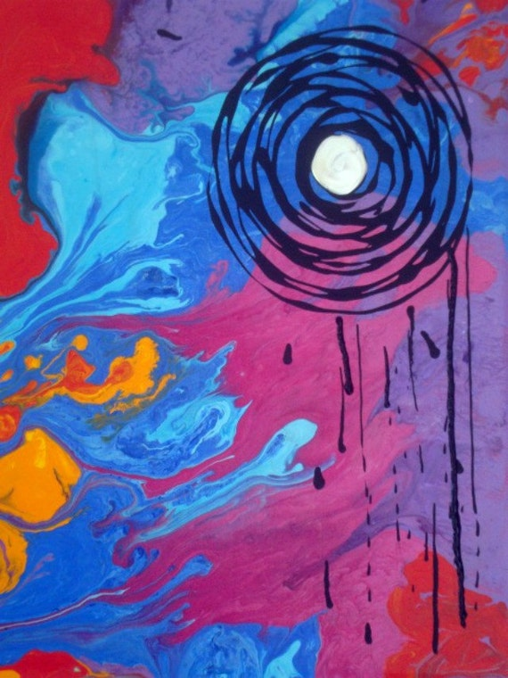"""Original Abstract Bold Colors Contemporary Art Painting. 9"""" x 12""""."""