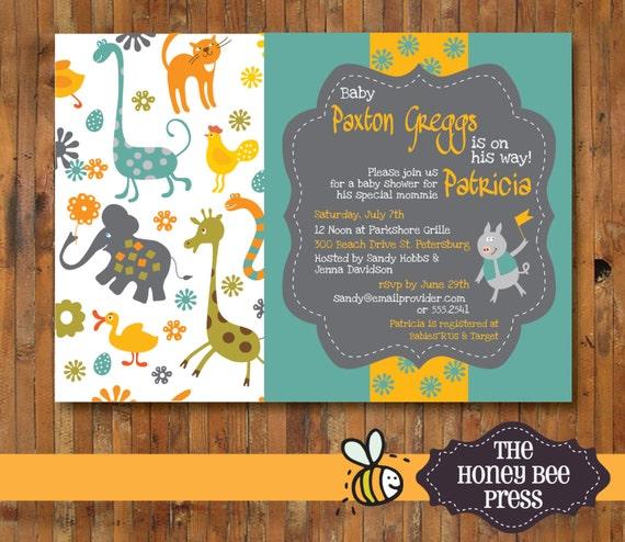 baby shower invitation  zoo animal baby shower invitation, Baby shower