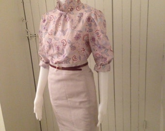 Vintage 1970s Polyester High Collared Floral Secretary Blouse