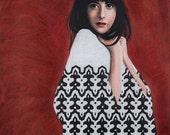 Giclee Print // A4 // 12''x8'' // geometric monochromatic illustration // portrait // wallpaper