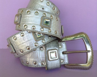 90's Silver Leather Belt, large square Rhinestones, silver studs, original, disco, accessory, faux snake skin, Greece