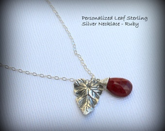 Ruby Organic Leaf and Birthstone Necklace. Nature lover. Eco-friendly. Personalized Family Birthstone Sterling Silver Necklace - ONE Gem
