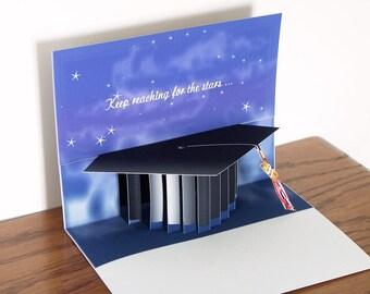Pop up Graduation Card with graduation cap and tassel Popup black mortarboard card for graduation
