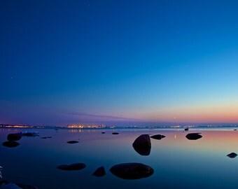 Nature nautical decor, sea landscape, large photo print, mirror water, boulders, starry sky, print to frame, Tallinn, Estonia