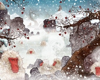 Japanese Snow Monkeys Custom Illustration Giclée Print