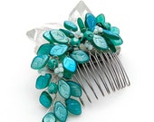 Teal Bridal Hair Comb, Wedding Hair Accessories, Hair Piece, Bridal Access Hair Accessories with leaves - CherylParrottJewelry