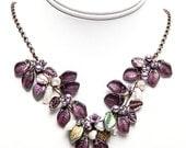 Burgundy Bib Necklace, Purple Statement Necklace, Purple Beaded Necklace, Purple Flower Necklace, Winter Wedding Jewelry, Nature Jewelry