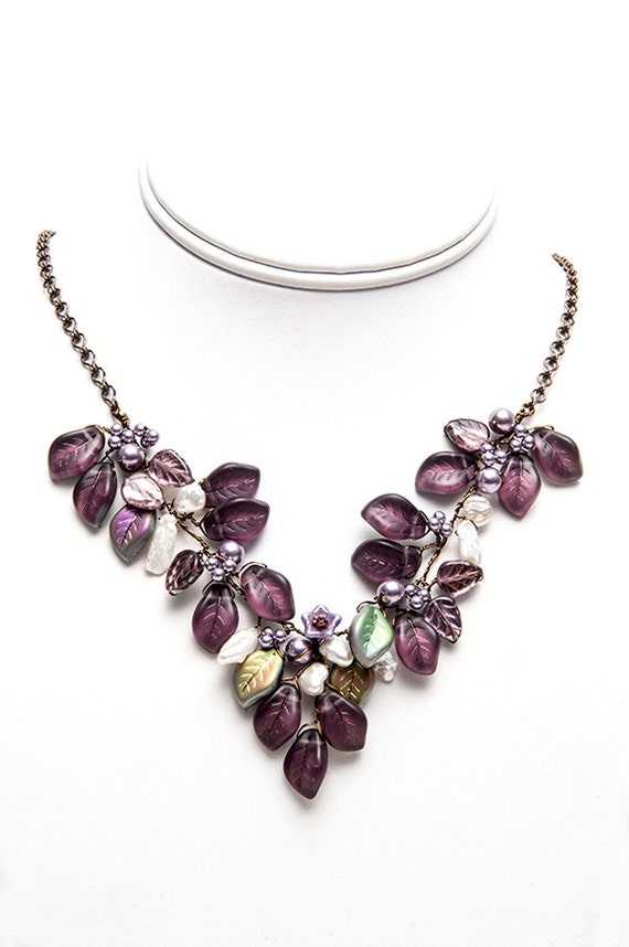 burgundy bib necklace purple statement necklace purple