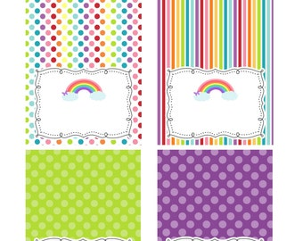 INSTANT DOWNLOAD -- Rainbow Food Tent Cards -- Blank