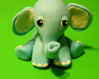 Blue Baby Elephant Cake topper