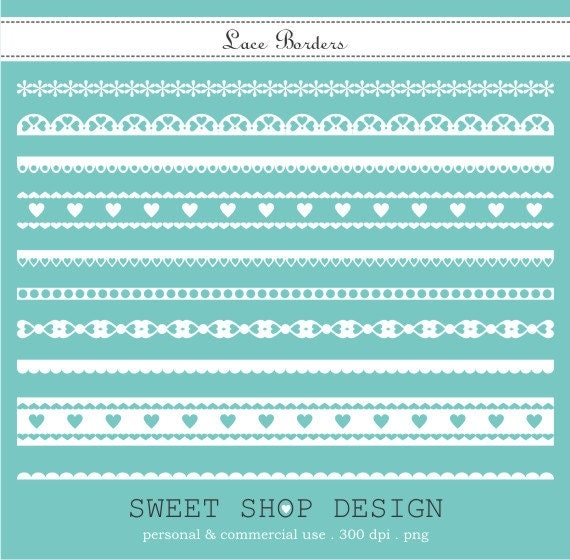 Clip Art Border Lace Ribbon Digital