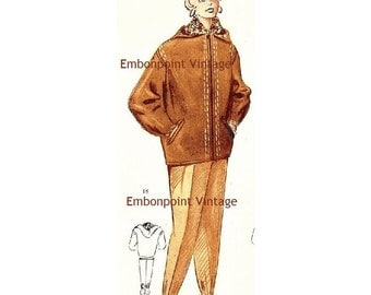 Plus Size (or any size) Vintage 1949 Jacket Sewing Pattern - PDF - Pattern No 18a Christina Jacket