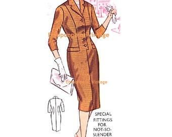 Plus Size (or any size) Vintage 1950s Dress Pattern - PDF - Pattern No 35: Catherine