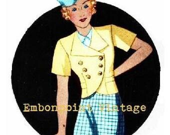 Plus Size Pattern (or any size) Vintage 1934 Jacket - PDF - Pattern No 105 Greta