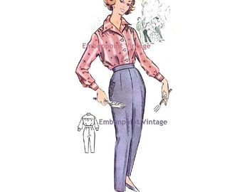Plus Size (or any size) Vintage 1950s Slacks Pattern - PDF - Pattern No 91b Marie Pants