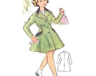Plus Size (or any size) Vintage 1950s Coat / Coatdress Pattern - PDF - Pattern No 142 Andrea