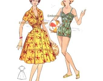 Plus Size (or any size) Vintage 1950s Beach Skirt Pattern - PDF - Pattern No 124b Yvonne