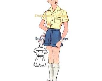 Plus Size (or any size) Vintage 1950s Boy's Shirt Pattern - PDF - Pattern No 170a Mark Shirt
