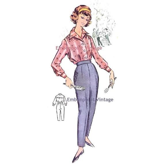 Plus Size (or any size) Vintage 1950s Slacks Pattern - PDF - Pattern No 91b Marie Pants