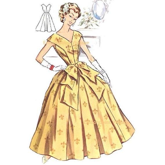 Plus Size (or any size) Vintage 1950s Evening Dress Pattern - PDF - Pattern No 114 Evelyn